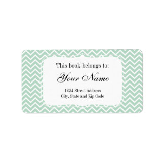 Mint Green Chevron Zigzag Stripes Personalized Address Label