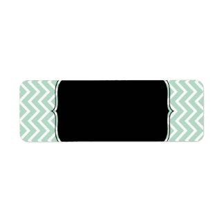 Mint Green Chevron Zigzag Stripes Return Address Labels