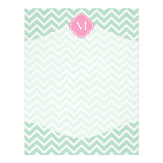 Mint Green Chevron Zigzag Stripes with Monogram Letterhead