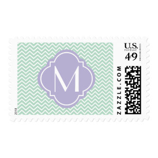 Mint Green Chevron Zigzag Stripes with Monogram Postage