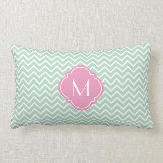 Mint Green Chevron Zigzag Stripes with Monogram Throw Pillow