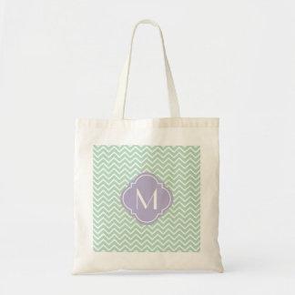 Mint Green Chevron Zigzag Stripes with Monogram Tote Bag