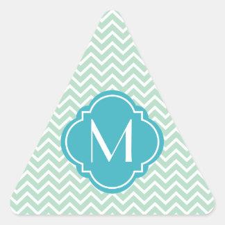Mint Green Chevron Zigzag Stripes with Monogram Triangle Sticker