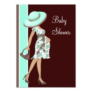 Mint Green Chocolate Brown Baby Shower 5x7 Paper Invitation Card