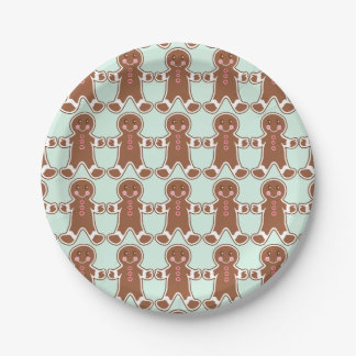Mint Green Christmas Gingerbread Boys Paper Plates