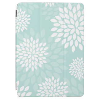 Mint Green Chrysanthemums Floral Pattern iPad Air Cover