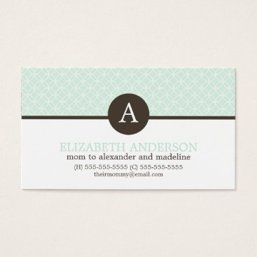 heartlocked Mint Green Circles Pattern Monogram Profile Cards
