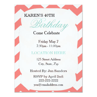 Mint Green Coral Chevron Birthday Invitation