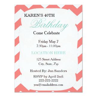 "Mint Green Coral Chevron Birthday Invitation 4.25"" X 5.5"" Invitation Card"