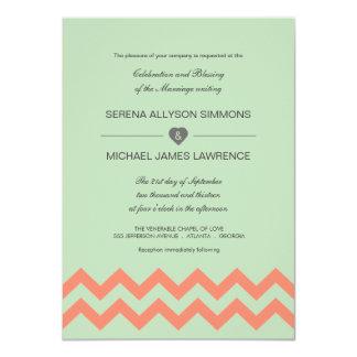 Mint Green & Coral Chevron Wedding Invitation
