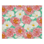 Mint Green Coral Pink Abstract Flower Pattern Poster