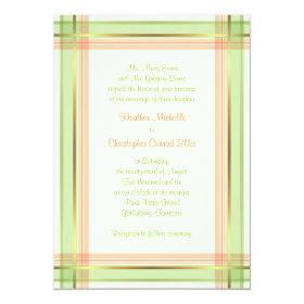 Mint Green Coral Pink Plaid Wedding Invitation 5