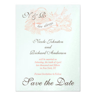 Mint Green Coral Pink Vintage Save the Date Card