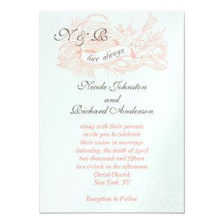 "Mint Green Coral Pink Vintage Wedding Invitation 5"" X 7"" Invitation Card"
