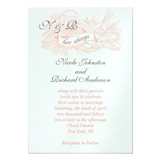 mint wedding invitations mint green coral pink vintage wedding invitation zazzle 5958