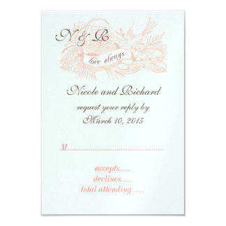 Mint Green Coral Pink Vintage Wedding RSVP 3.5x5 Paper Invitation Card