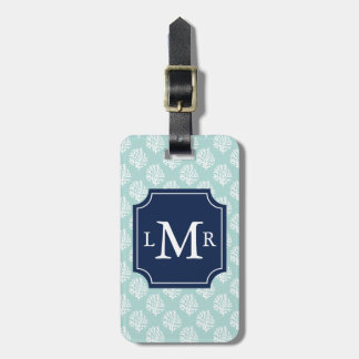 Mint Green Coral Reef and Blue Monogram Bag Tag
