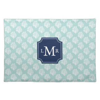 Mint Green Coral Reef and Blue Monogram Cloth Placemat