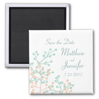 Mint Green & Coral Save the Date Magnet - Square
