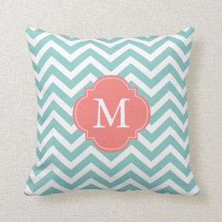 Mint Green Coral Zigzag Pattern Monogram Throw Pillow