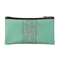 Mint Green Cosmetic Bag with Faux Glitter