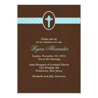 Mint Green Cross Christening Invitations