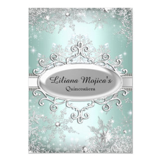 Mint Green Crystal Snowflake Princess Quinceanera 5x7 Paper Invitation Card