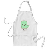 Mint Green Cute Oven Mitt Cartoon Adult Apron