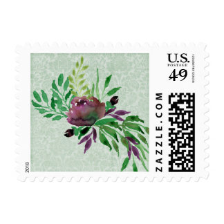 "Mint Green Damask, 1.8"" x 1.3"", $0.49 Stamp"