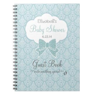 Mint Green Damask Baby Shower Guest Book Spiral Notebook