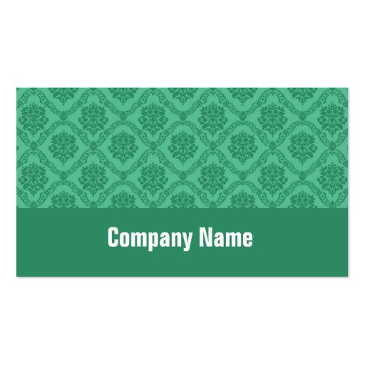 Mint Green Damask Business Card