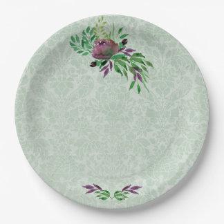 "Mint Green Damask Custom Paper Plates 9"""