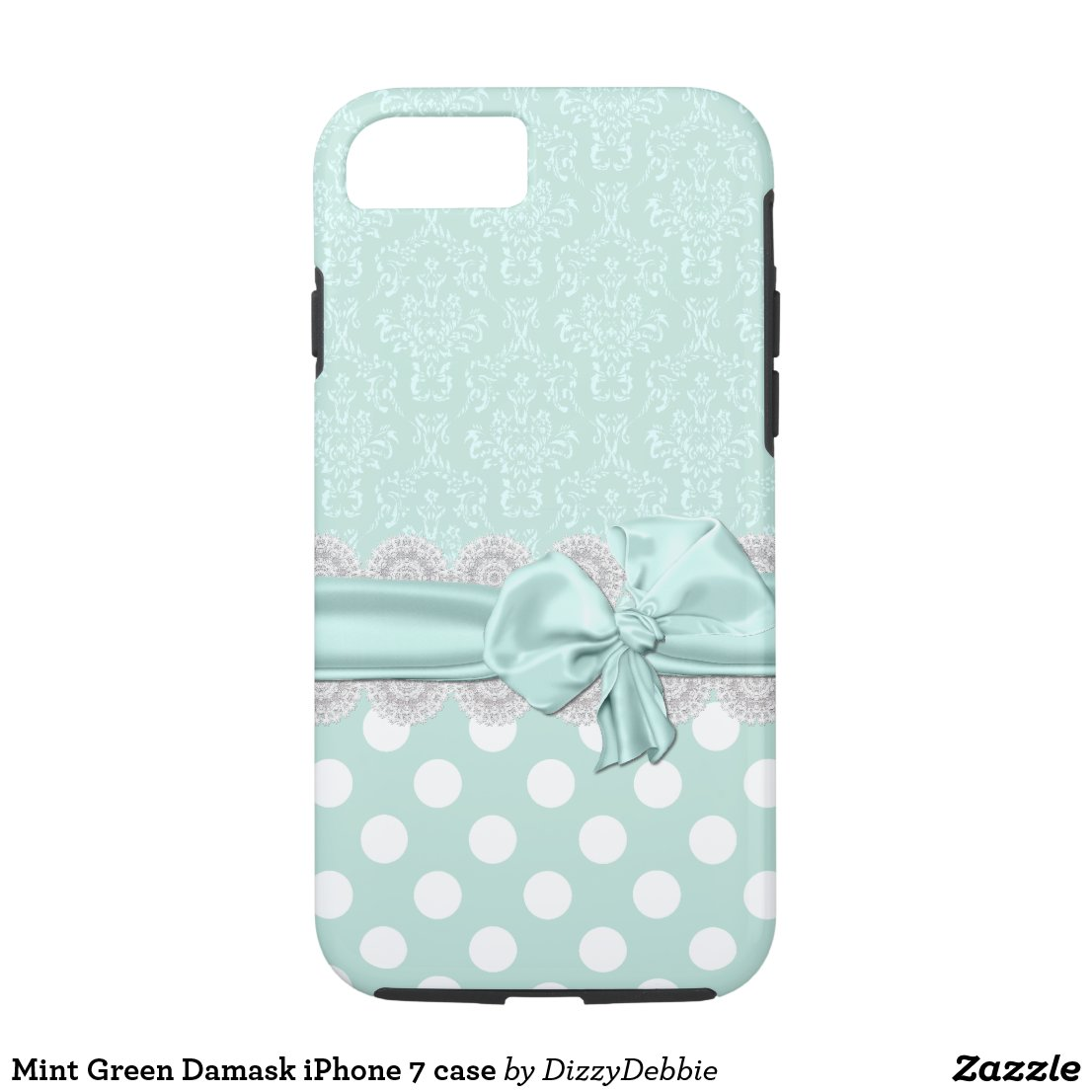 Mint Green Damask iPhone 7 case