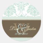 Mint Green Damask monogram wedding/DIY fonts+color Classic Round Sticker