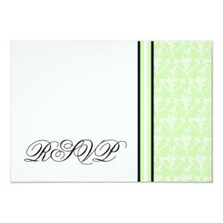 "Mint Green Damask RSVP Response Card 3.5"" X 5"" Invitation Card"