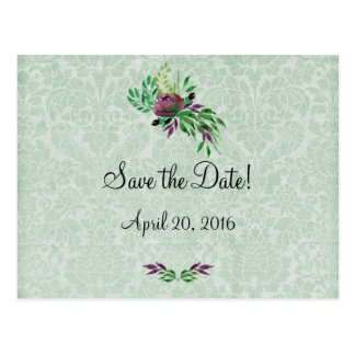 Mint Green Damask Save the Date Postcard
