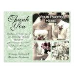 Mint Green Damask Wedding Thank You Card 3 Photos Postcard