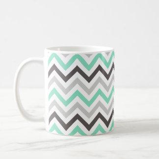 Mint Green, Dark Gray, Light Gray, & White Chevron Coffee Mug