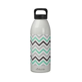 Mint Green Dark Gray Light Gray White Chevron Water Bottles