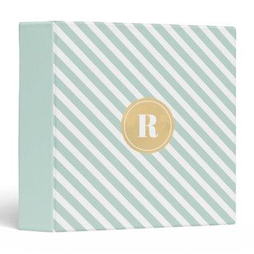 Professional Business Mint Green Diagnol Stripes Gold Monogram Binder