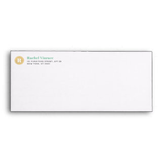 Mint Green Diagnol Stripes Gold Monogram Envelope