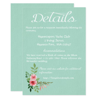 Mint Green Directions  Details Pink Floral Wedding Card