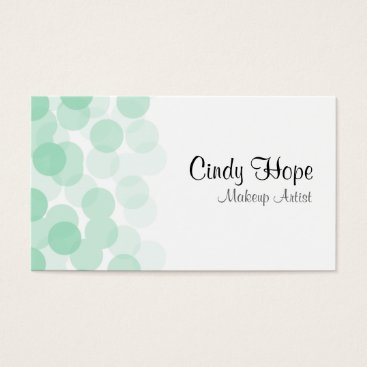 Professional Business Mint Green Dot Makeup Artist Business Cards
