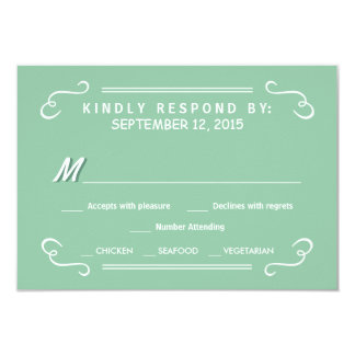 "Mint Green Eat Drink & RSVP Rustic Wedding Reply 3.5"" X 5"" Invitation Card"