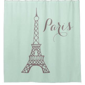 Mint Green Eiffel Tower Shower Curtain