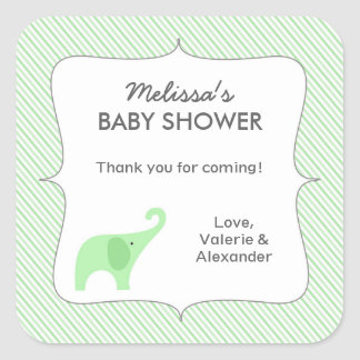 Mint Green elephant baby shower favor thank you Square Sticker