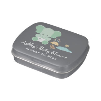 Mint Green Elephant Bird Baby Shower Favor Jelly Belly Candy Tins