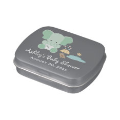 Mint Green Elephant Bird Baby Shower Favor Jelly Belly Tin at Zazzle