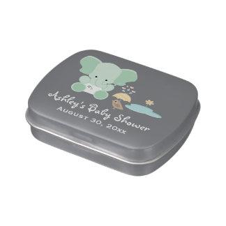 Mint Green Elephant Bird Baby Shower Favor Jelly Belly Tin
