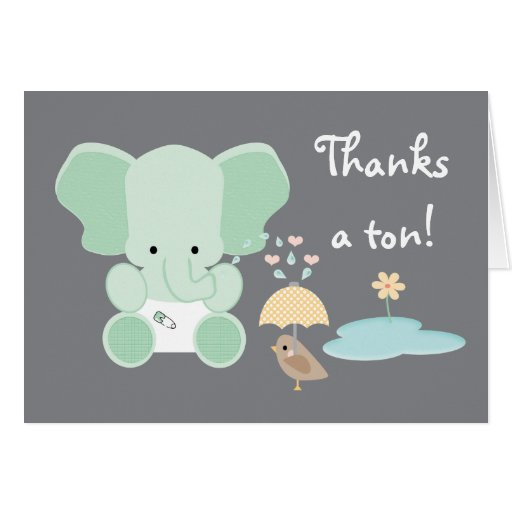Mint Green Elephant Diaper Baby Shower Thank You Stationery Note Card